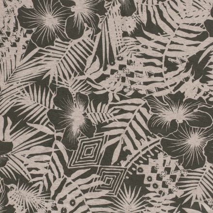 Tissu Viscose lin extensible Hawaï Vert kaki - Par 10 cm