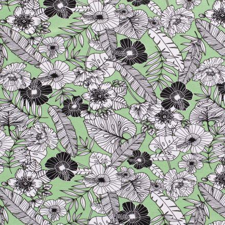 Tissu Jersey Viscose avec aspect crêpe Feuillages et fleurs blanches et noires sur fond Vert - Par 10 cm
