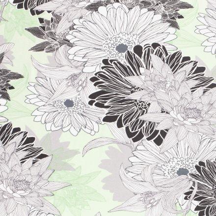 Tissu Jersey viscose  Grandes fleurs de nénuphar blanches et noires sur fond Vert d'eau - Par 10 cm
