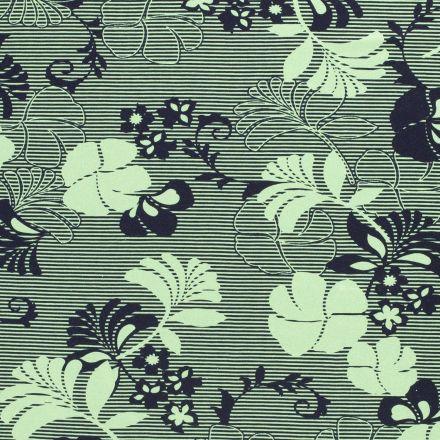 Tissu Jersey Viscose Fleurs et rayures bleu marine sur fond Vert - Par 10 cm