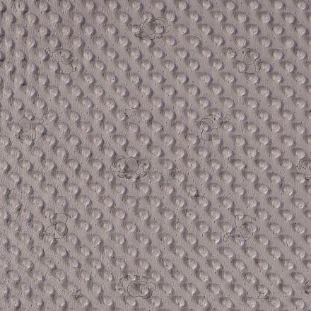 Tissu Minky  à pois Petits éléphants gris sur fond Gris souris - Par 10 cm