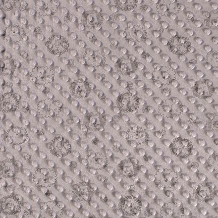 Tissu Minky  à pois Tête de lion gris sur fond Gris souris - Par 10 cm
