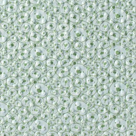 Tissu Minky à pois Tête d'ourson vert sur fond Vert d'eau - Par 10 cm