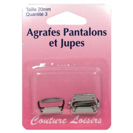 Agrafes nickelées pour pantalons et jupes. Taille : 25 mm x3