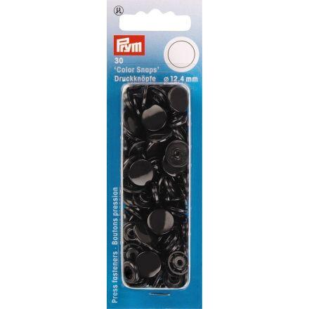 Prym 30 Boutons pression Color Snaps noir 12,4 mm
