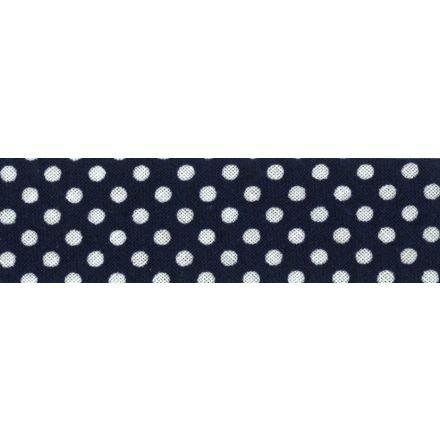 Biais imprimé coton 20 mm Bleu Marine Mini Pois Blanc x1m