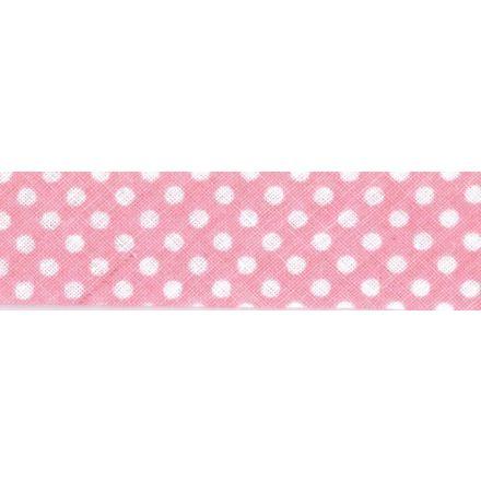Biais imprimé coton 20 mm Rose clair Mini Pois Blanc x1m