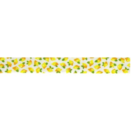Biais replié 13 mm Jaune Citrons Jaune x1m