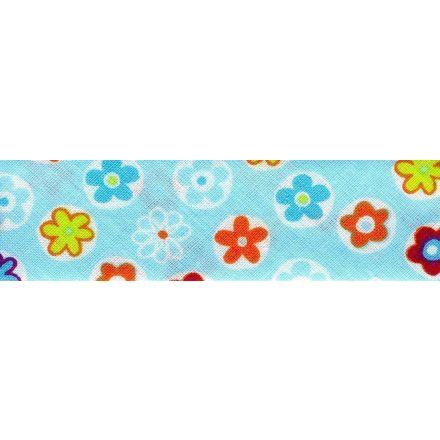 Biais replié 25 mm Bleu ciel Fleuris x1m
