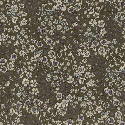 Tissu Coton Frou-Frou Fleuri N°3 Kaki et ecru - Par 10 cm