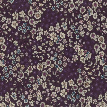 Tissu Coton Frou-Frou Fleuri N°8 Prune et ecru - Par 10 cm