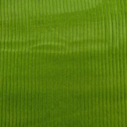 Tissu Velours Grosses côtes Vert pomme x10cm