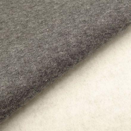 Tissu Molleton Sweat uni Gris anthracite chiné x10cm