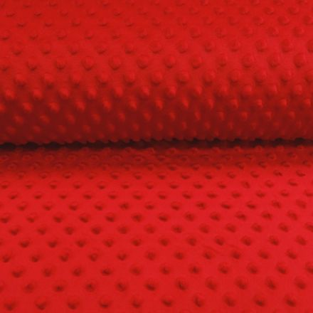 Tissu Minky Ultra doux Pois Rouge - Par 10 cm