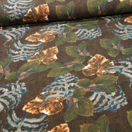 Tissu Crêpe imprimé Feuilles de Miltonia sur fond Vert kaki - Par 10 cm