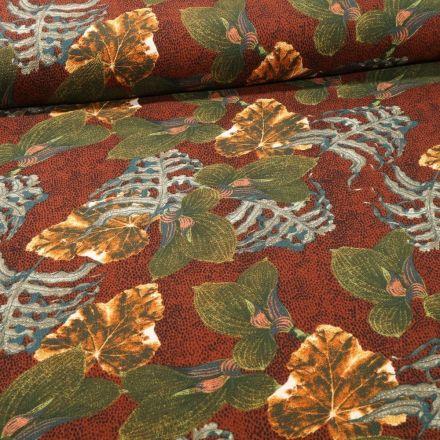Tissu Crêpe imprimé Feuilles de Miltonia sur fond Rouille - Par 10 cm