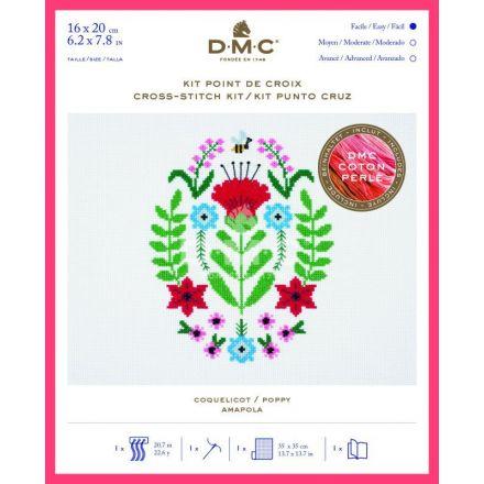 Kit Broderie Point de croix DMC Coquelicot 16 x 20 cm