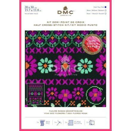 Kit Broderie Demi Point de croix DMC Fleurs 20 x 30 cm Roses