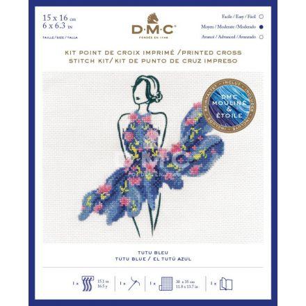 Kit Broderie Point de croix DMC Tutu Bleu 15 x 16 cm