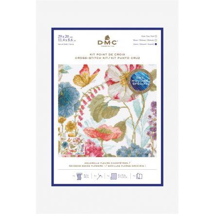 Kit Broderie Point de croix DMC Aquarelle Fleurs Champètres 29 x 20 cm