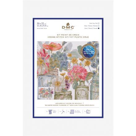 Kit Broderie Point de croix DMC Fleurs en Bocaux 30 x 22 cm