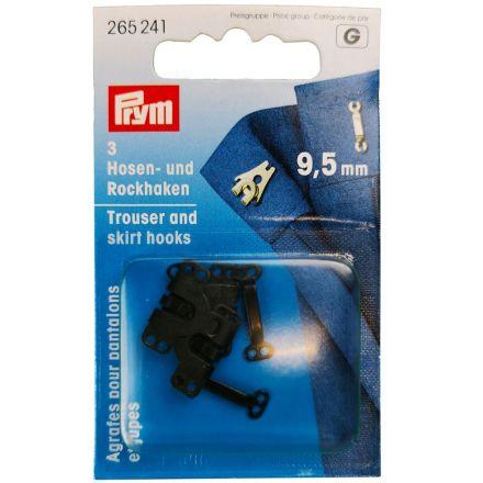 Agrafes et barrettes pour pantalons et jupes laiton 9,5 mm Prym Noir