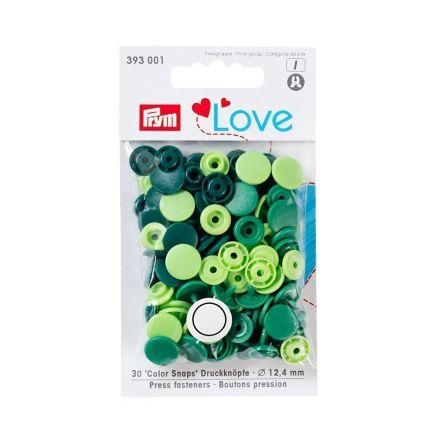 Boutons pression Prym Colors Snaps Love vert - Sachet 30 boutons