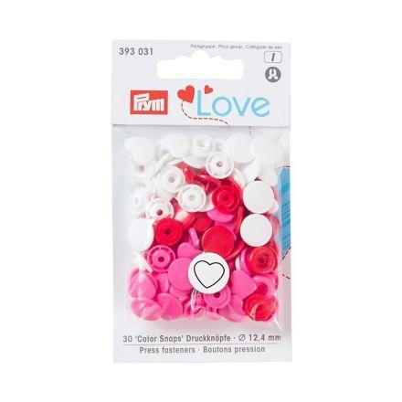 Boutons pression Prym Colors Snaps Love coeur rouge et blanc - Sachet 30 boutons