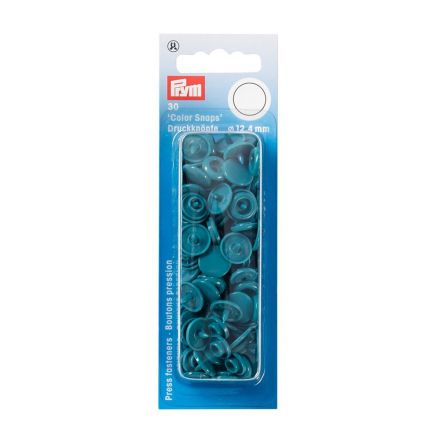 Prym 30 Boutons pression Color Snaps turquoise fonce 12,4 mm