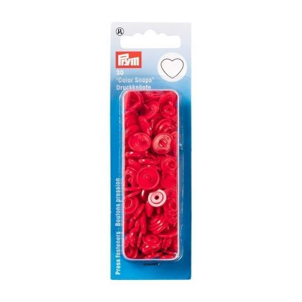 Prym 30 Boutons pression Color Snaps Coeurs Rouge