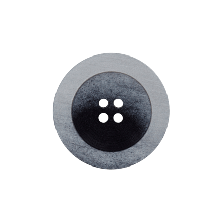 Bouton Polyester 4 trous Gris - 2 Tailles