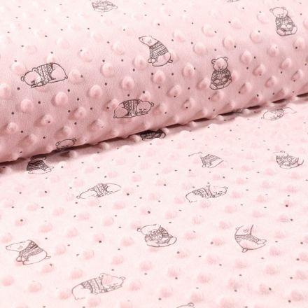 Tissu Minky Ultra doux Pois Oursons Gris sur fond Vieux rose - Par 10 cm