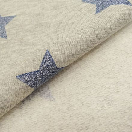 Tissu Sweat Gris chiné Etoiles pailletées Glitter bleu argent x10cm