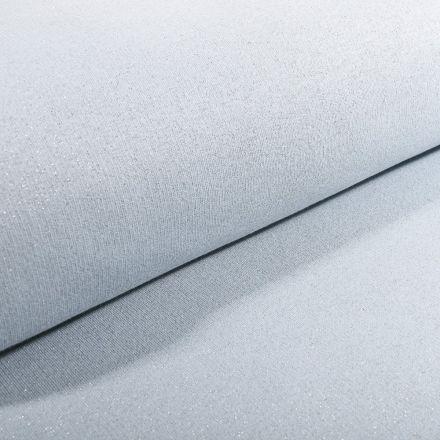 Tissu Sweat Paillettes argentées sur fond Bleu ciel - Par 10 cm