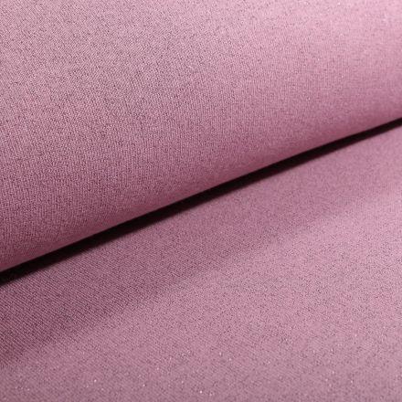Tissu Sweat Paillettes roses sur fond Vieux rose - Par 10 cm