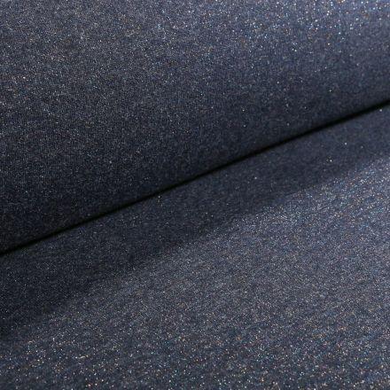 Tissu Sweat Paillettes multicolores sur fond Bleu marine - Par 10 cm