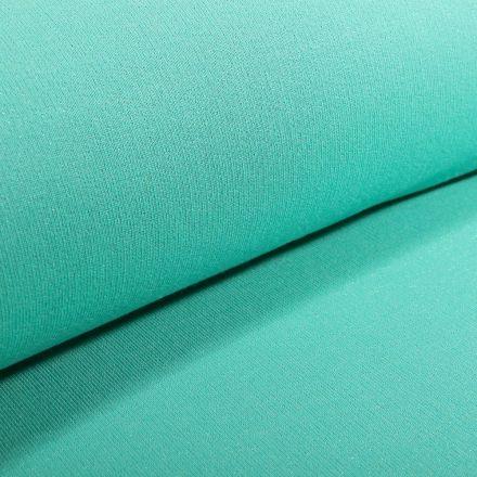 Tissu Sweat Paillettes vertes sur fond Vert menthe - Par 10 cm