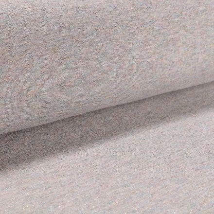 Tissu Sweat Paillettes multicolores sur fond Gris chiné multicolore - Par 10 cm