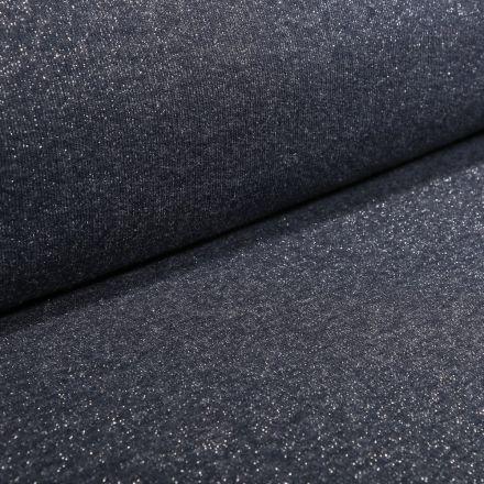 Tissu Sweat Paillettes argentées sur fond Bleu marine - Par 10 cm