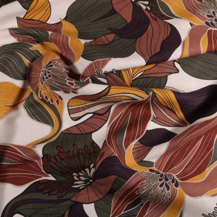 Tissu Lin Coton Fleurs marron et rouille sur fond Blanc cassé - Par 10 cm