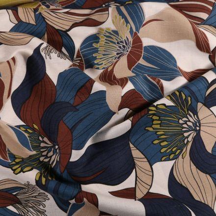 Tissu Lin Coton Fleur marron et bleues sur fond Blanc cassé - Par 10 cm
