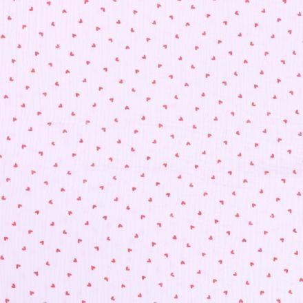 Tissu Double Gaze Petits coeurs rouges sur fond Blanc - Par 10 cm