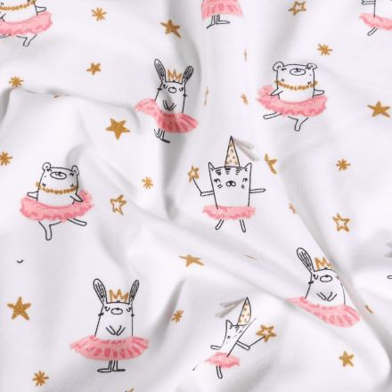Tissu Jersey Coton Animaux ballerina sur fond Blanc - Par 10 cm