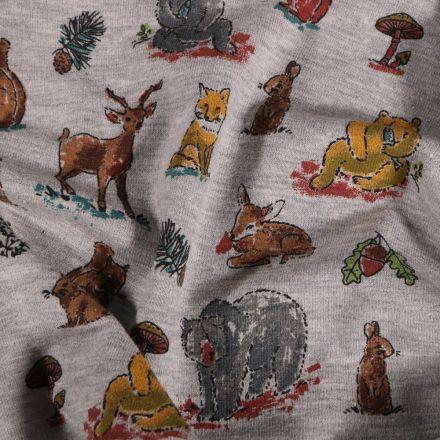 Tissu Jersey Coton Animaux de la forêt sur fond Gris chiné - Par 10 cm