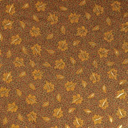 Tissu Satin imprimé Tache léopard orange et feuilles jaune et doré sur fond Vert kaki clair - Par 10 cm