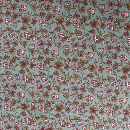 Tissu Jersey Modal Feuilles et fleurs sur fond Vert d'eau - Par 10 cm