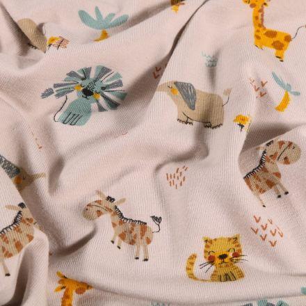 Tissu Jersey Coton Animaux de la savane sur fond Beige - Par 10 cm