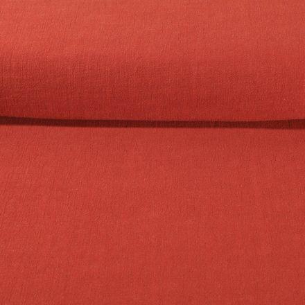Tissu Lin lavé Viscose uni Brique - Par 10 cm