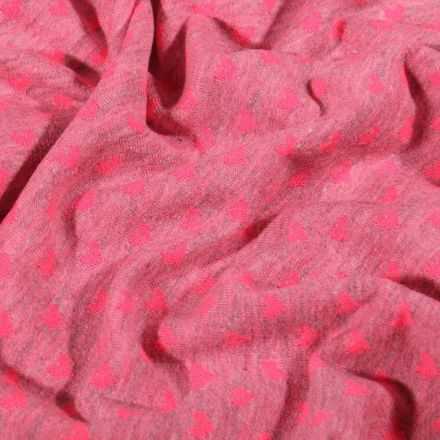 Tissu Jersey Coton Cœur rose fluo sur fond Rose chiné - Par 10 cm