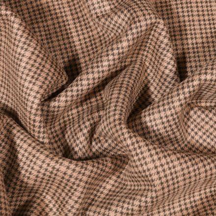 Tissu Jacquard Jersey Prince de galles noir sur fond Beige - Par 10 cm